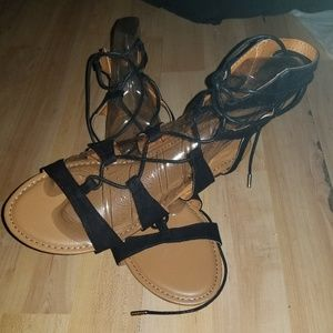 db203f281415 BAMBOO Shoes - Beautiful black summer roman styled shoes sz 8